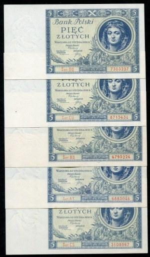 Zestaw banknotów, 5 złotych 1930 (5szt.)