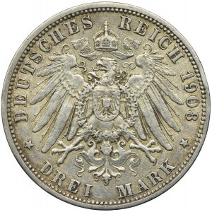 Niemcy, Hamburg, 3 marki 1908, J/Hamburg