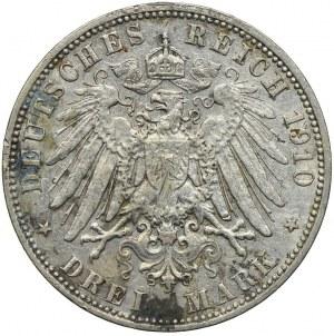Niemcy, Hamburg, 3 marki 1910, J/Hamburg