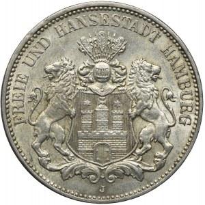 Niemcy, Hamburg, 3 marki 1913, J/Hamburg