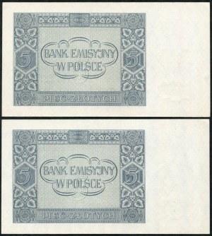 Zestaw banknotów, 5 złotych 1941 ser. AE, kolejne numery seryjne (2szt.)