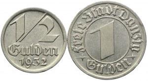Zestaw, Wolne Miasto Gdańsk, 1/2, 1 gulden 1932 (2szt.)