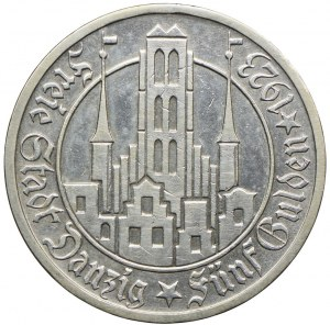 Wolne Miasto Gdańsk, 5 guldenów 1923, Utrecht, Kościół Najświętszej Marii Panny