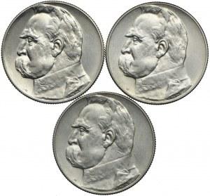 Zestaw II RP, 5 złotych 1934, 1935, 1936 Józef Piłsudski (3szt.)