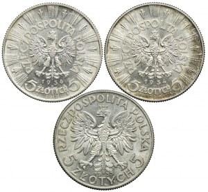Zestaw II RP, 5 złotych Piłsudski, Głowa Kobiety 1933-1936 (3szt.)