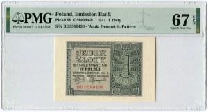 1 złoty 1941 - BD - PMG 67