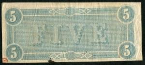 USA, banknot 5 dolarów 1864