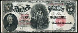 USA, banknot 5 dolarów 1907