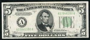 USA, banknot 5 dolarów 1934