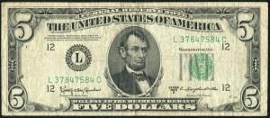 USA, banknot 5 dolarów 1950