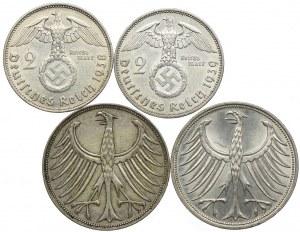 Niemcy, 2 marki 1938, 1939, 5 marek 1961-1970 (4szt.)