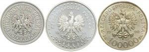 Zestaw monet, 100.000zł 1992 Korfanty, 300.000zł 1994 Powstanie Warszawskie, 100.000zł 1990 Solidarność typ A (3szt.)