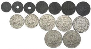Zestaw, 1, 5, 10, 20 groszy 1923-39, 20, 50 groszy 1923-38, 1 złoty 1929 (14szt.)