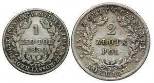 Królestwo Kongresowe, Mikołaj I, 1 złoty 1830 FH, Powstanie Listopadowe 2 złote 1831 KG, Warszawa