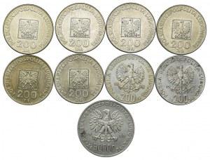 Zestaw, 200zł XXX lat PRL, Olimpiada, Żołnierze, 50.000zł 1988 Piłsudski (9szt.)