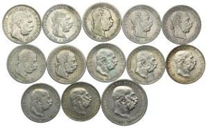 Austro-Węgry, Franciszek Józef I, 1 korona, 2 korony 1893-1916 (13szt.)