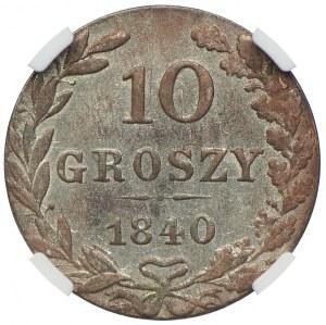 Królestwo Kongresowe, Mikołaj I, 10 groszy 1840 MW, Warszawa, NGC UNC DETAILS