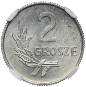 2 grosze 1949, PRÓBA, ALUMINIUM, NGC MS66