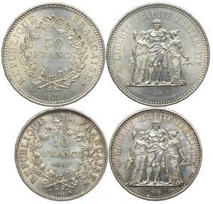 Francja, 50 franków 1975, 10 franków 1967 (2szt.)