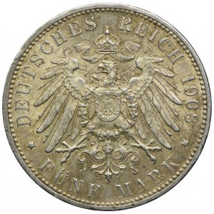 Niemcy, Wirtembergia, Wilhelm II, 5 marek 1908 F/Stuttgart