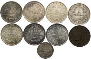Niemcy, zestaw 1873-1915 (9szt.)