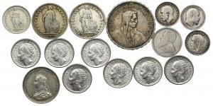 Zestaw srebrnych monet, Szwajcaria, RPA, Holandia, Wielka Brytania (16szt.)