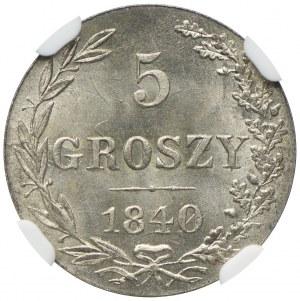 Królestwo Kongresowe, Mikołaj I, 5 groszy 1840 MW, Warszawa, NGC MS66