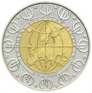 Medal-wydany z okazji wprowadzenia waluty Euro - rok 2002, (bimetal-złoto 999 waga 6,22g, srebro 999 waga 6,04g)