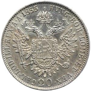 Austria, Franciszek Józef I, 20 krajcarów 1855, Wiedeń