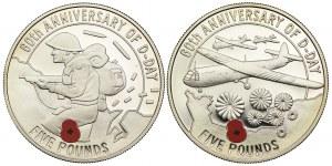 GUERNSEY, 5 FUNTÓW 2004, 60 rocznica D-DAY '1944 (2szt.)
