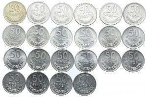 Zestaw PRL, 50 groszy 1949-1987 (22szt.)