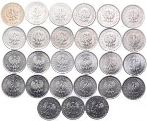 Zestaw PRL, 1 złoty 1949-1988 (27szt.)