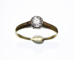 Złoty pierścionek z brylantem 0,58ct, Au585, ekspertyza