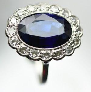 Platynowy pierścionek z diamentami i syntetycznym szafirem, ekspertyza
