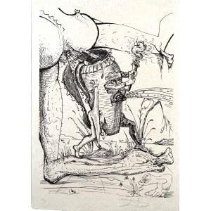 Salvador Dalí (1904-1989), Z jednobarwnego cyklu: Zabawne sny Pantagruela, 1973 Bez tytułu (wg Bretona/Despreza: LXXI)