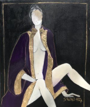 Joanna Sarapata, Portret w fioletowej tunice, 2021