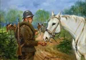 Jerzy KOSSAK (1886-1955), Żołnierz karmiący konia, 1939