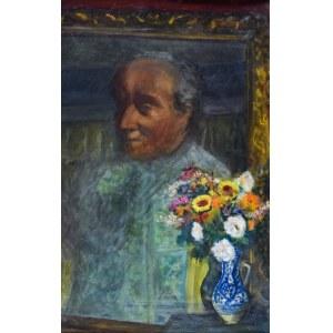 Irena WEISS – ANERI (1888-1981), Martwa natura z portretem W. Weissa i kwiatami, po 1950