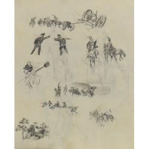 Stanisław KAMOCKI (1875-1944), Szkice sylwetek żołnierzy rosyjskich(?), taboru artylerii, szkice potyczki, fragmentu lasu 1894(?)