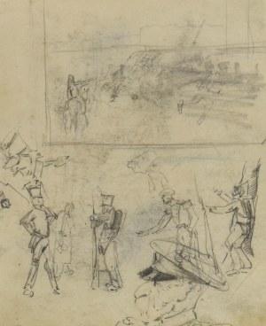 Stanisław KAMOCKI (1875-1944), Szkice żołnierzy rosyjskich, kompozycji batalistycznej, 1894(?)