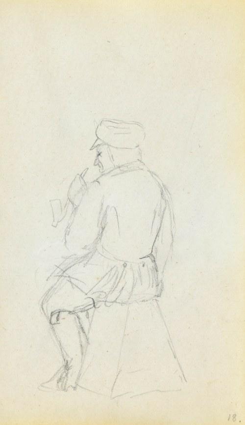Jacek MALCZEWSKI (1854-1929), Mężczyzna siedzący tyłem w uniformie palący fajkę