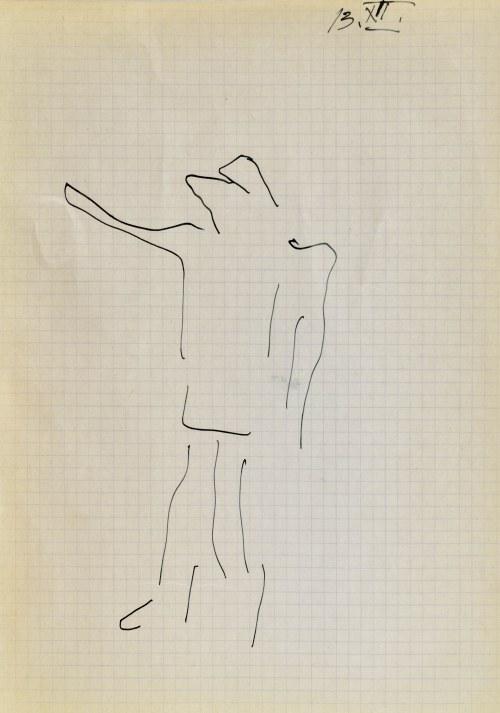 Jerzy PANEK (1918-2001), Postać stojąca z wyciągniętą prawą ręką, 1963