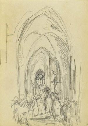 Józef PIENIĄŻEK (1888-1953), Wierni wewnątrz gotyckiego kościoła