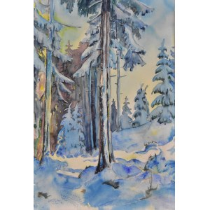 Jan Wałach (1884-1979), Zimowy las w okolicach Istebnej, 1961