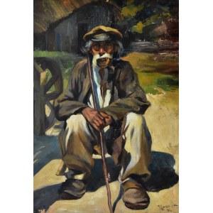 Zygmunt Józef Menkes (1896 - 1986), Dziadek. Chłop siedzący przy kole młyńskim, 1918