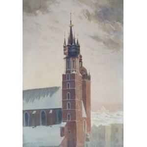 Stanisław Ignacy Fabijański (1865-1947), Widok na wieże kościoła Mariackiego w Krakowie