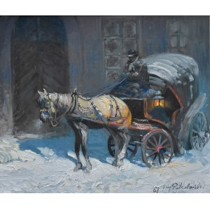 Jerzy Potrzebowski (1921-1974), Pejzaż zimowy z dorożką, 1968