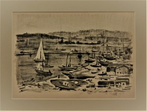 Antoni Suchanek(1901-1982) ,Gdynia fragment Portu Jachtowego,1946