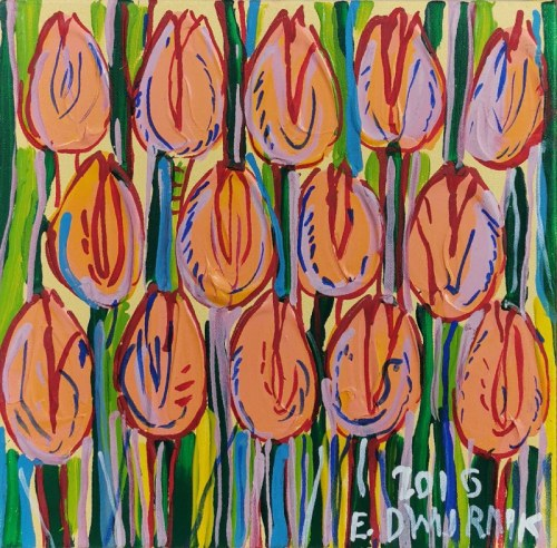 Edward DWURNIK (1943-2018), Cieliste Tulipany, 2016