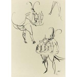 Antoni UNIECHOWSKI (1903-1976), Szkice rogatej postaci z tacą